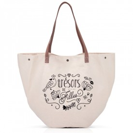 Sac shopping coton cuir