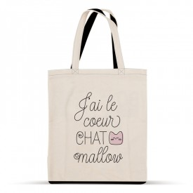 "Tote bag ""j'ai le coeur chat mallow"""