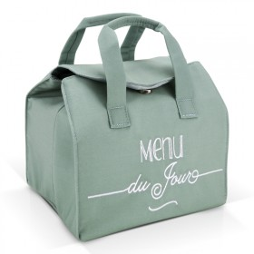 "Sac lunch bag isotherme Vert ""Menu du jour"""